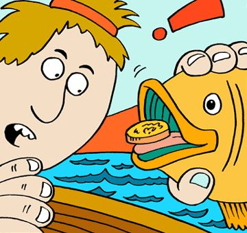 coin in fishes mouth clip art.