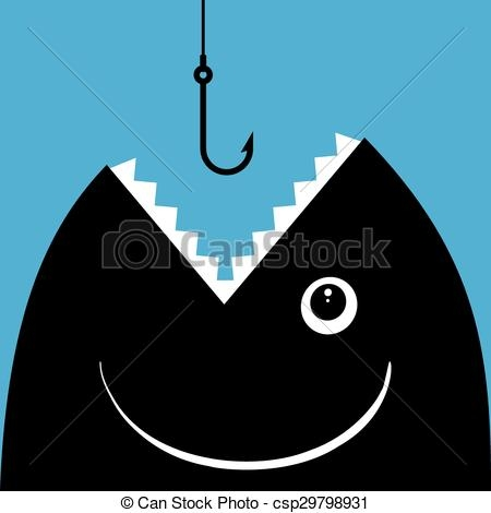 Fish With Hook In Mouth Clipart.