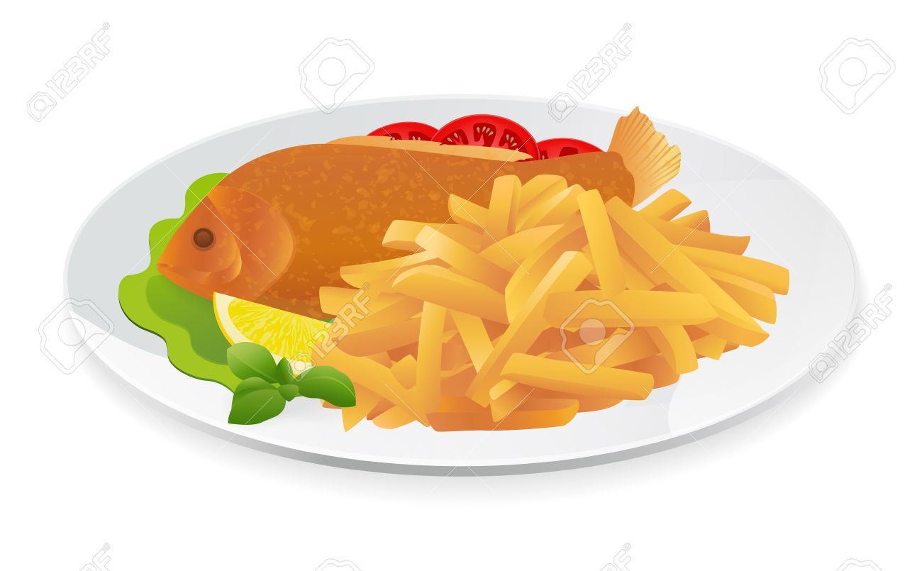 Fish and Chips on a plate. Popular take.