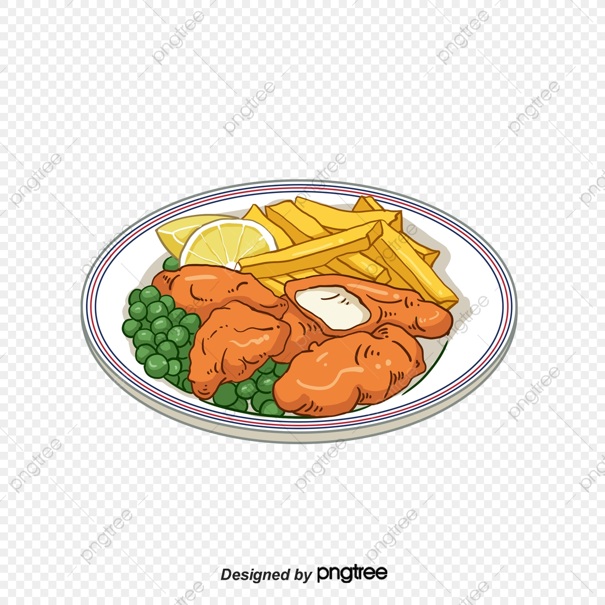 Hand Painted Fish And Chips, Cartoon, Hand Painted, Lemon PNG.