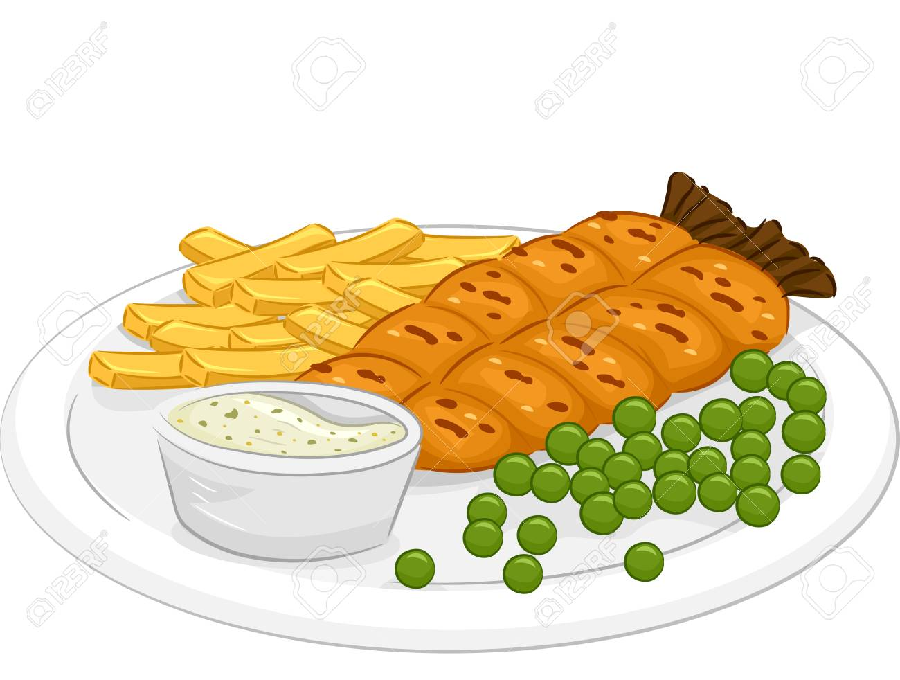 Illustration Featuring a Plate of Fish and Chips.