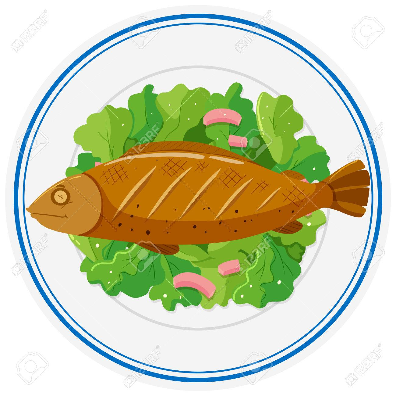 Grilled fish and vegetables on plate illustration.