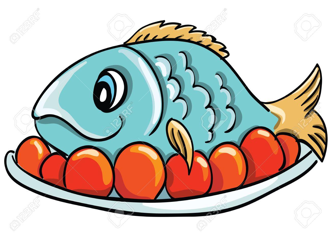 Cartoon fish on a plate.