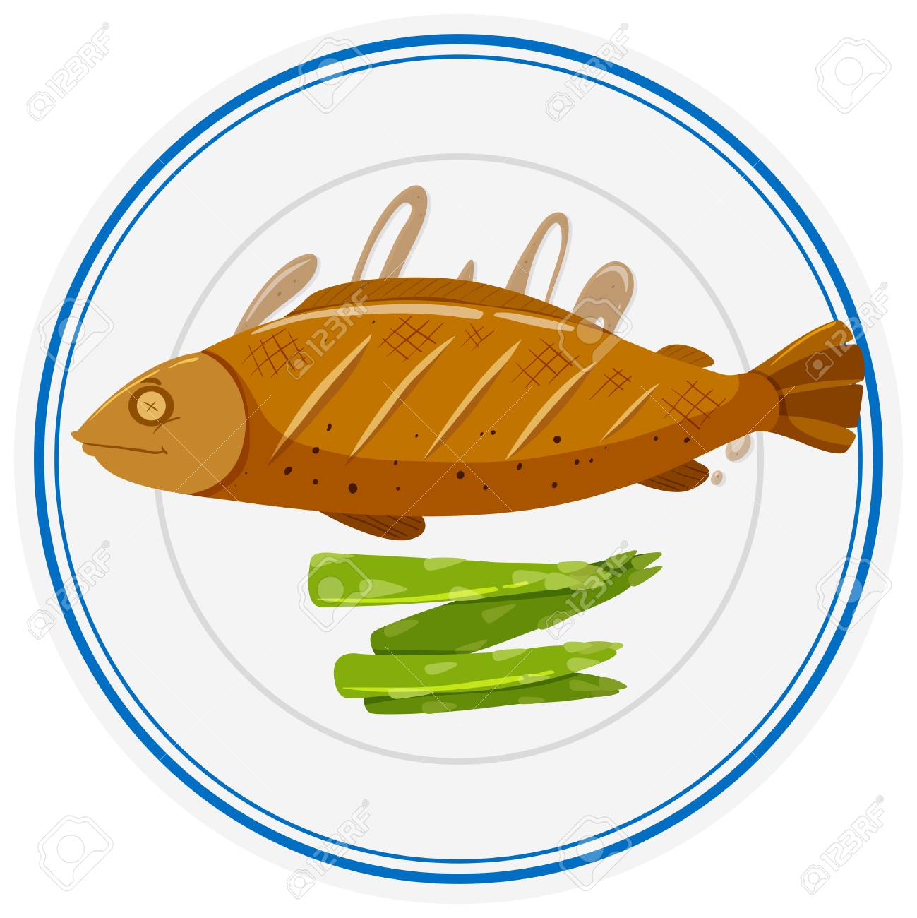 Grilled fish and asparagus on plate illustration.