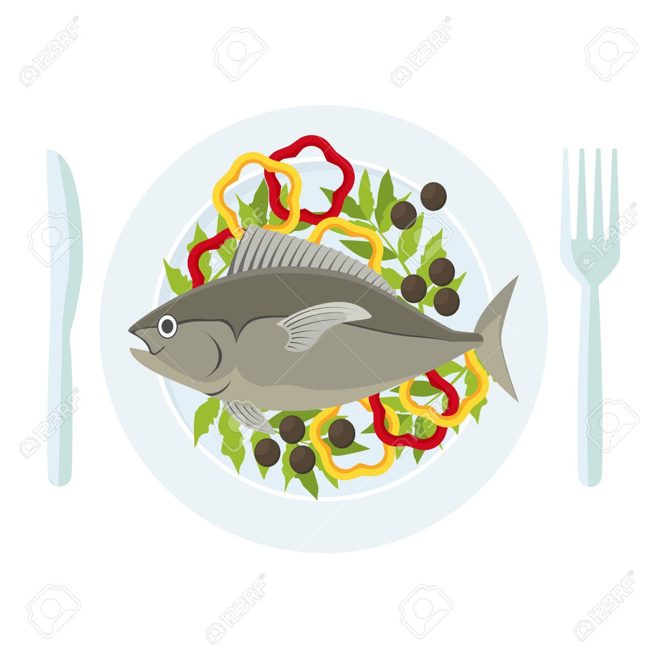 Cartoon Fish and Fresh Vegetables on a Plate. Vector.