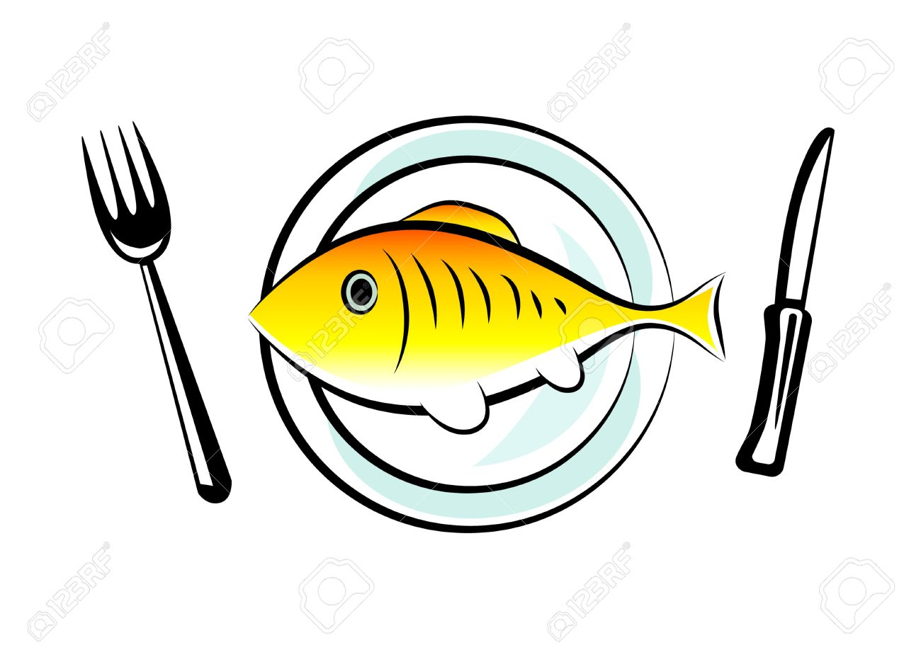 Gold fish on porcelain plate.