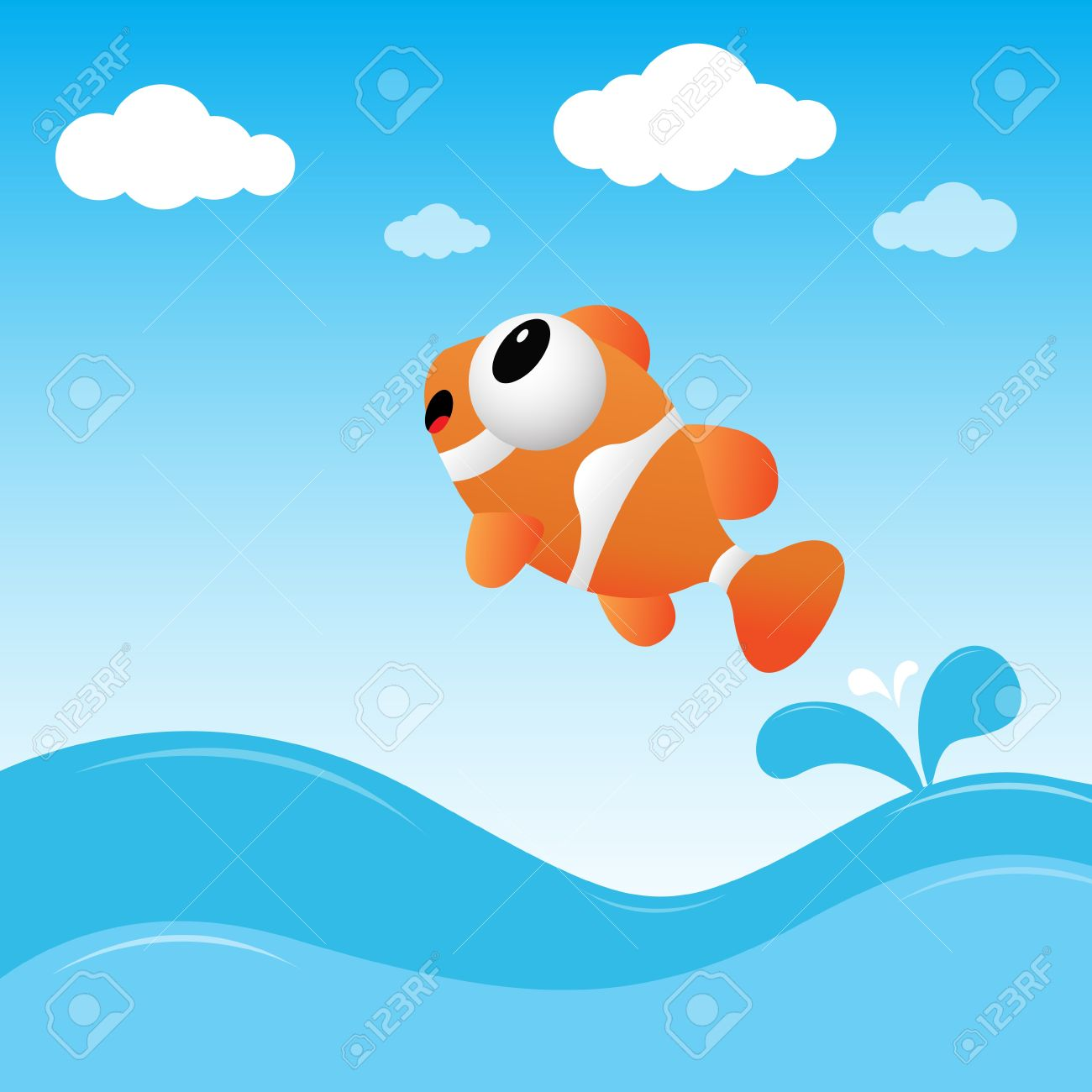 Fish jumping out of the water.