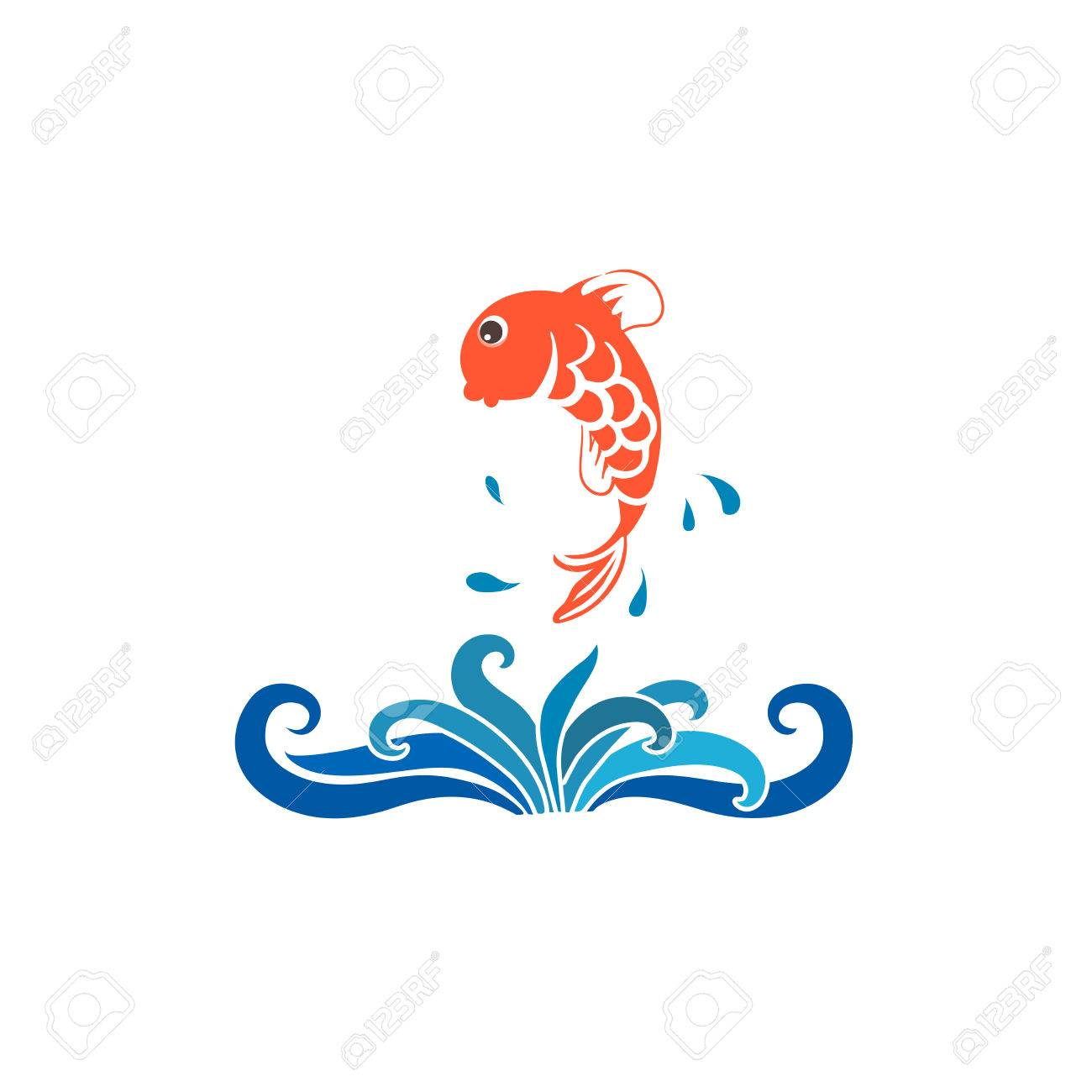 Vector cartoon fish jumping out of water.