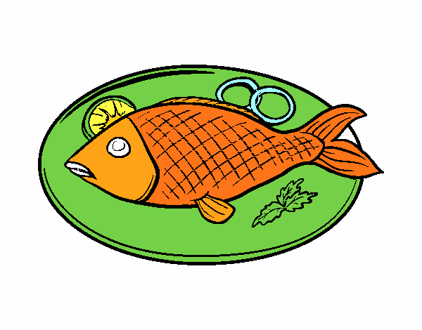 Colored page Fish plate painted by User not registered.
