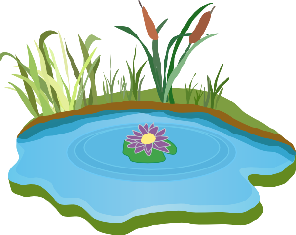 Fish in a pond clipart.