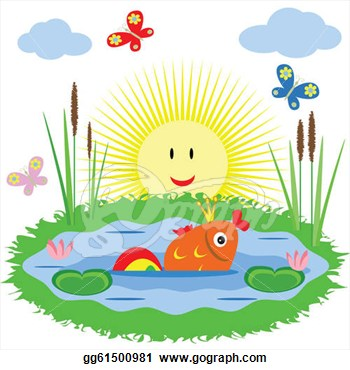 koi fish pond clipart