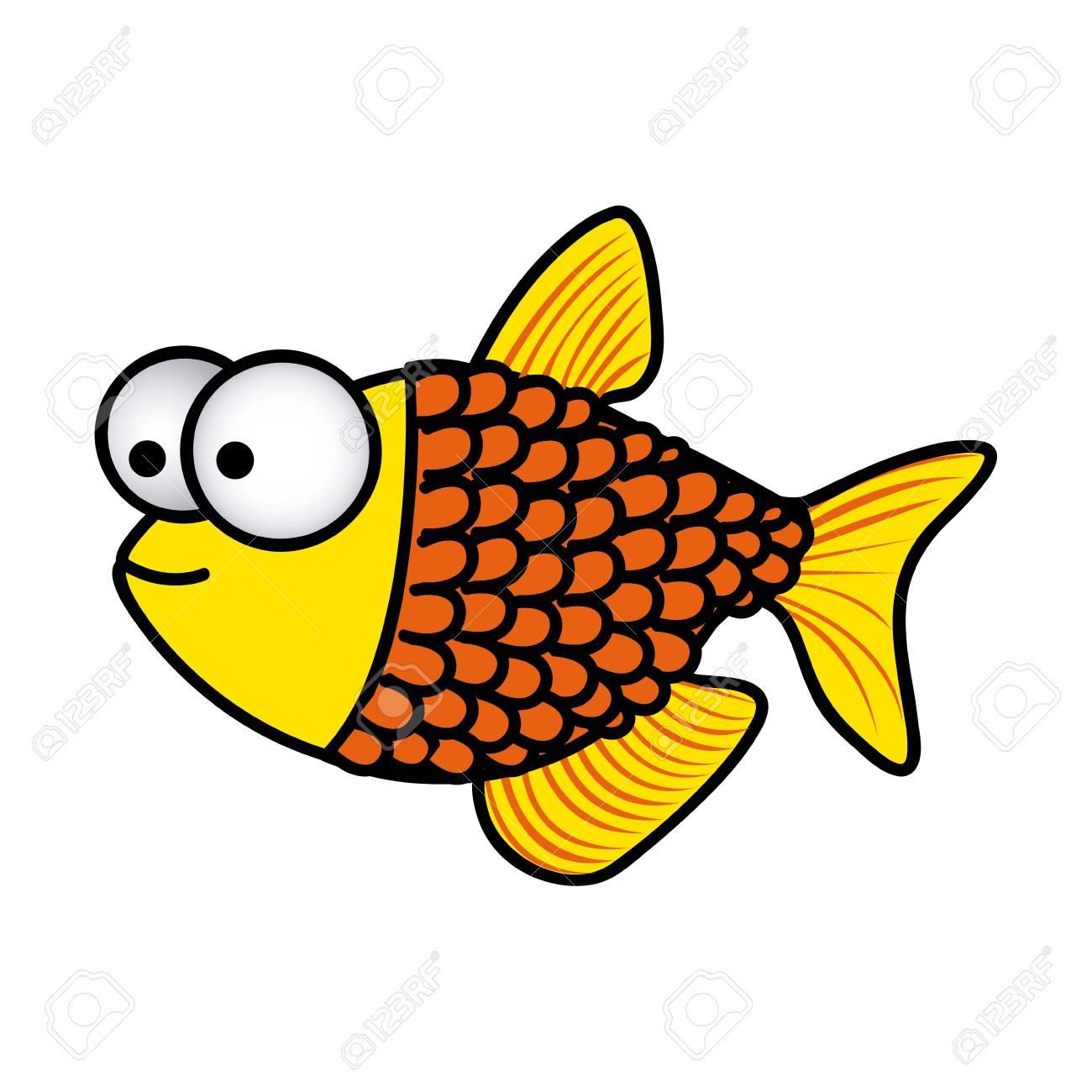 Happy fish scales cartoon icon, vector illustration design.
