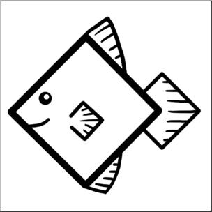 Clip Art: Basic Shapes: FIsh: Diamondfish B&W I abcteach.com.