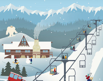 Items similar to Ski lift photograph, skiing decor, ski resort art.