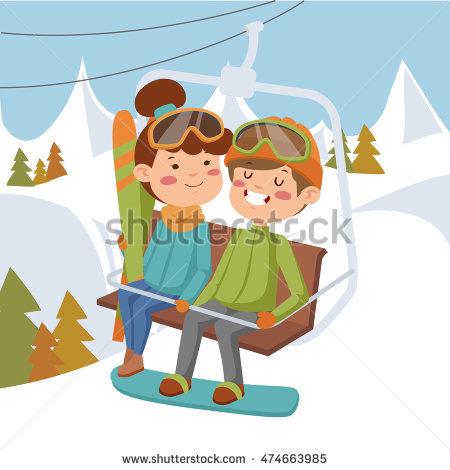 Funny Cartoon People Ski Lift Stock Vector 386921416.