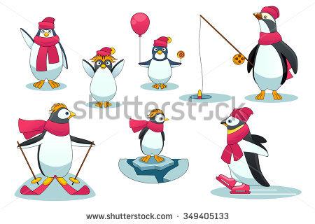 Penguin Skiing Stock Photos, Royalty.