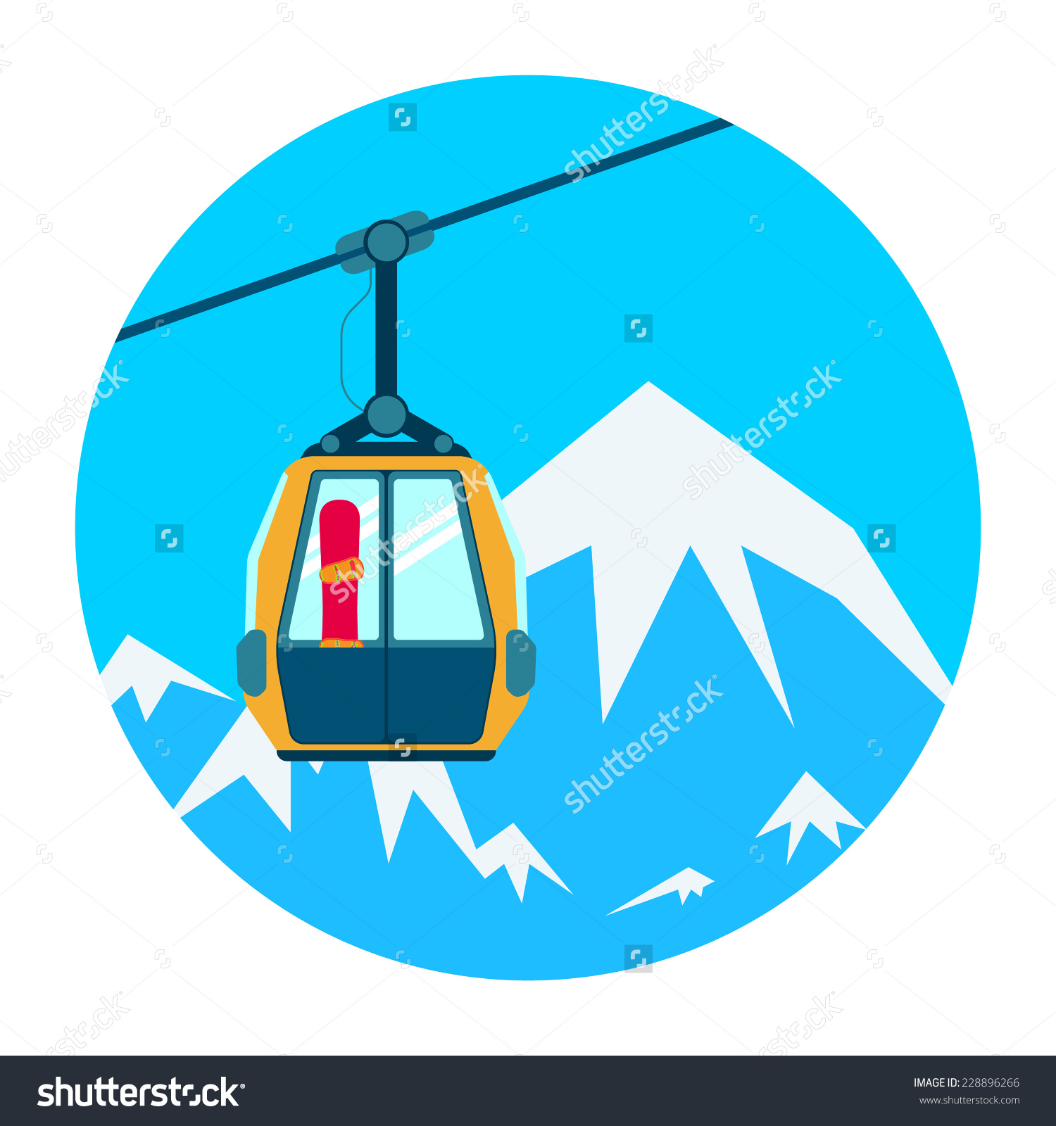 Ski Lift On Background High Mountains Stock Vector 228896266.