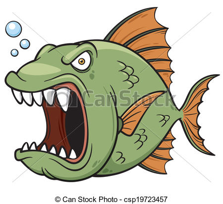 Clipart Vector of Angry fish.