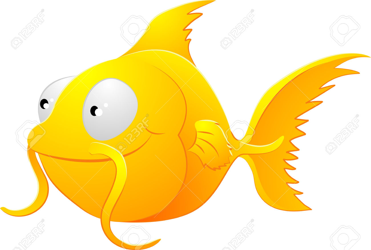 A Clipart Illustration Of A Cute Lovable Goldfish Type Fish.