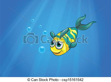 EPS Vector of A fish swimming in the sea.