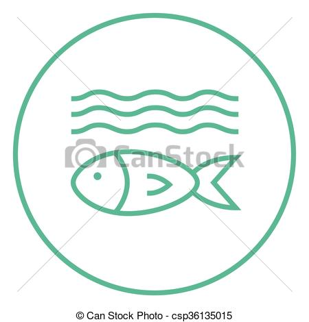 Vector Clip Art of Fish under water line icon..