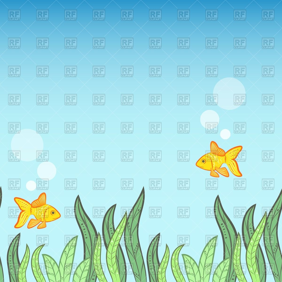 Underwater background with yellow fish and algae Stock Vector Image.