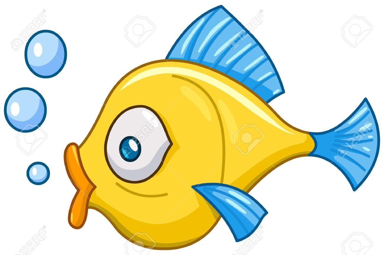 Cartoon fish with bubbles.