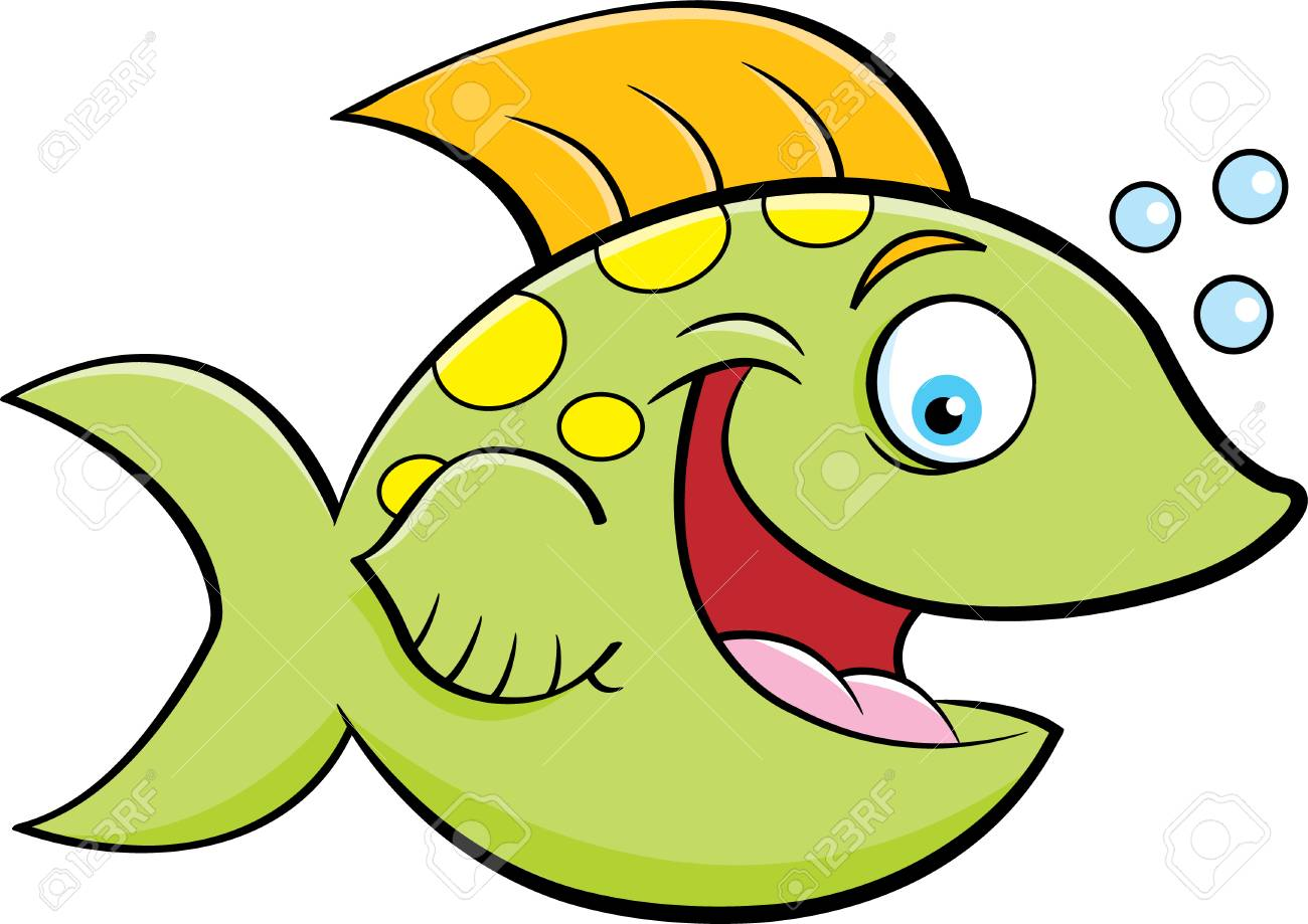 Cartoon illustration of a smiling fish blowing bubbles..