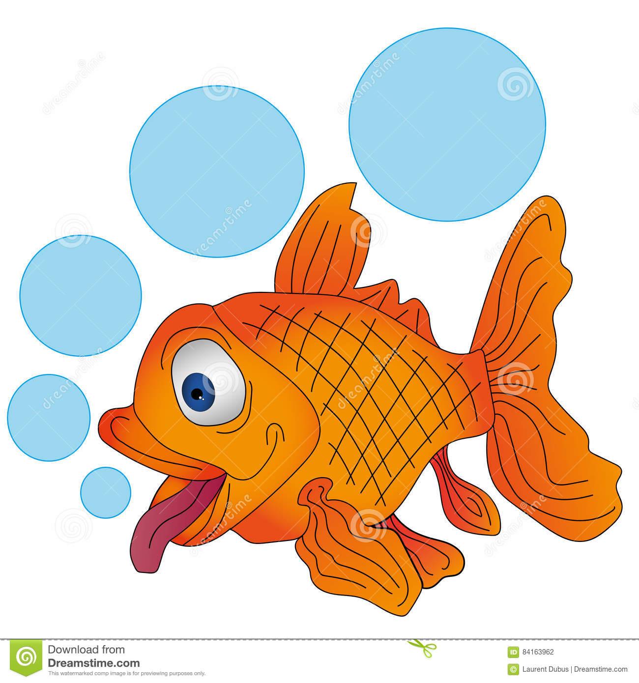 Vector Orange Fish With Bubbles Stock Vector.