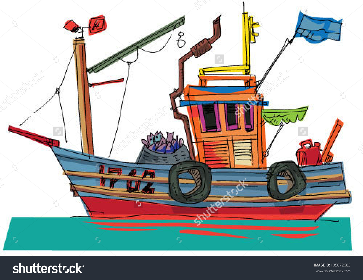 Fishboat Cartoon Caricature Stock Vector 105072683.