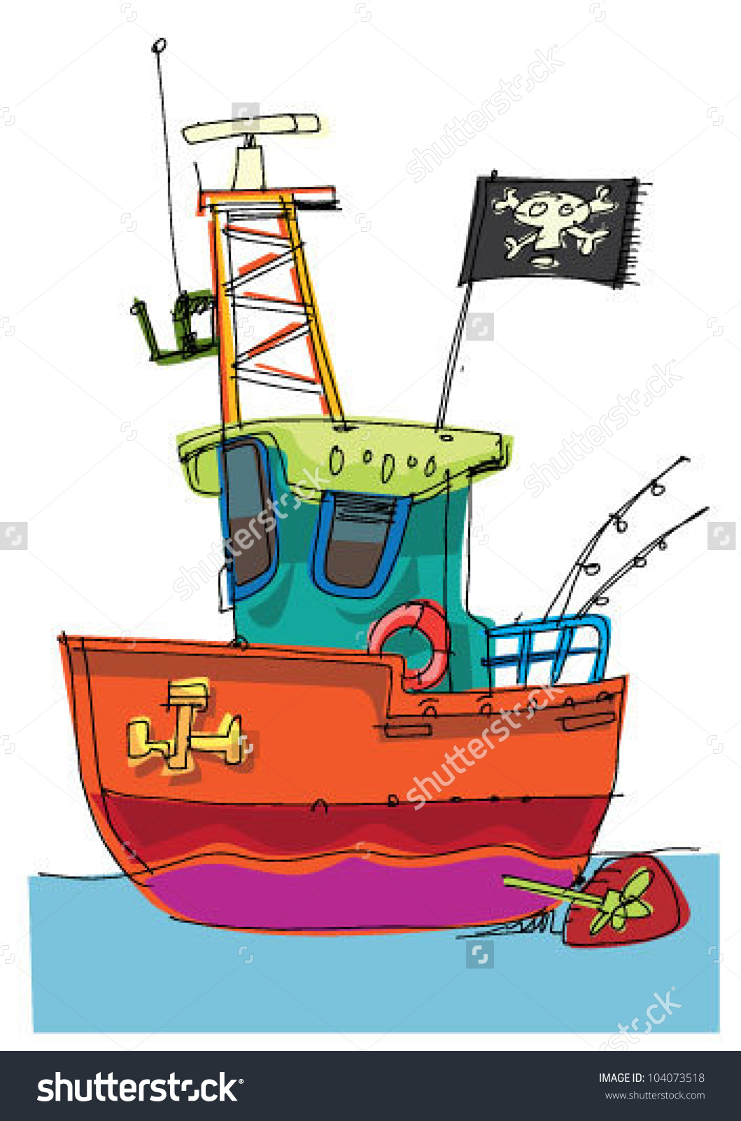 Fishboat Cartoon Caricature Stock Vector 104073518.