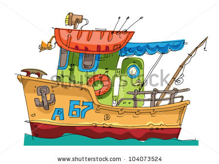 Fishboat Cartoon Caricature Stock Vector 104073524.