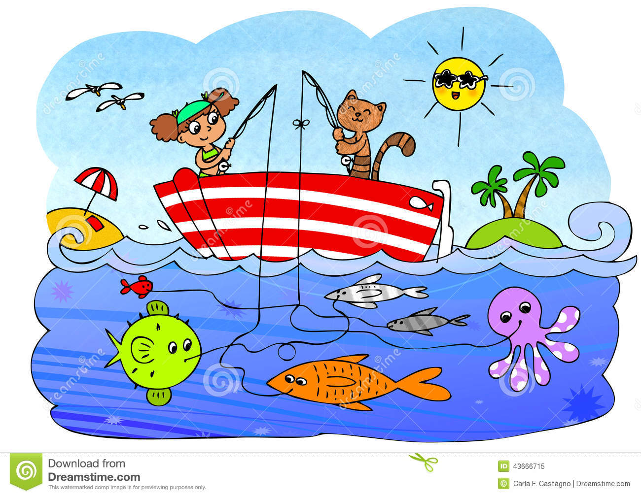 Fish Boat Game For Children Stock Illustration.