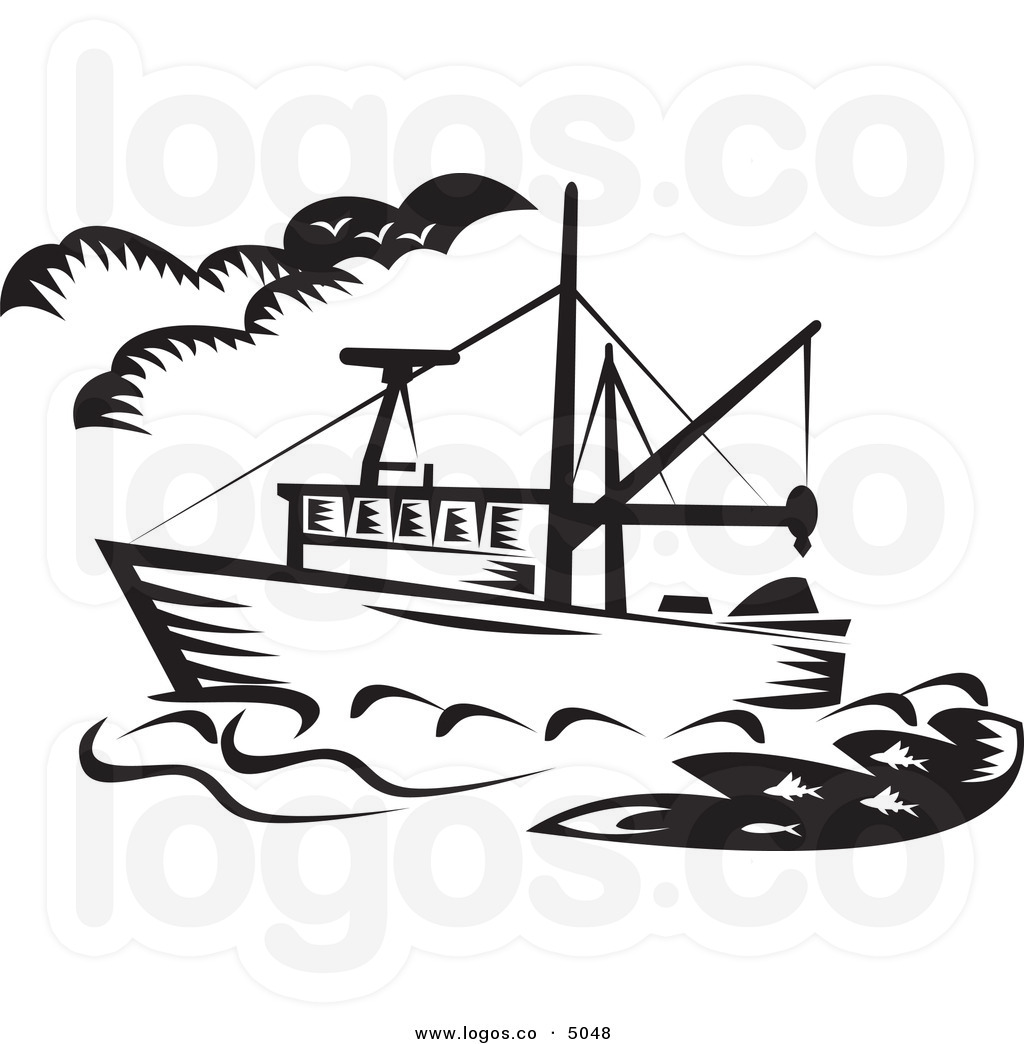 Fishing boat clipart black white.