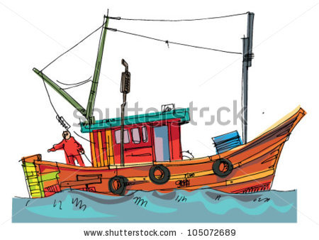 Fishboat Cartoon Caricature Stock Vector 105072689.