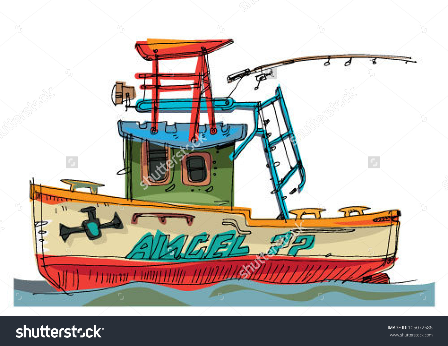 Fishboat Cartoon Caricature Stock Vector 105072686.