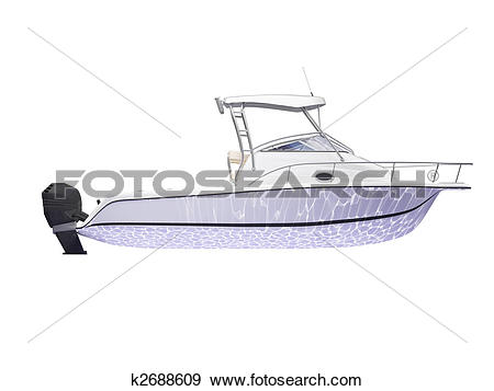 Stock Illustration of Fish Boat isolated side view k2688609.