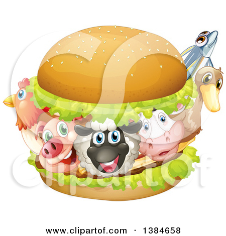 Clipart of a Chicken, Pig, Sheep, Cow, Duck and Fish in a Burger.