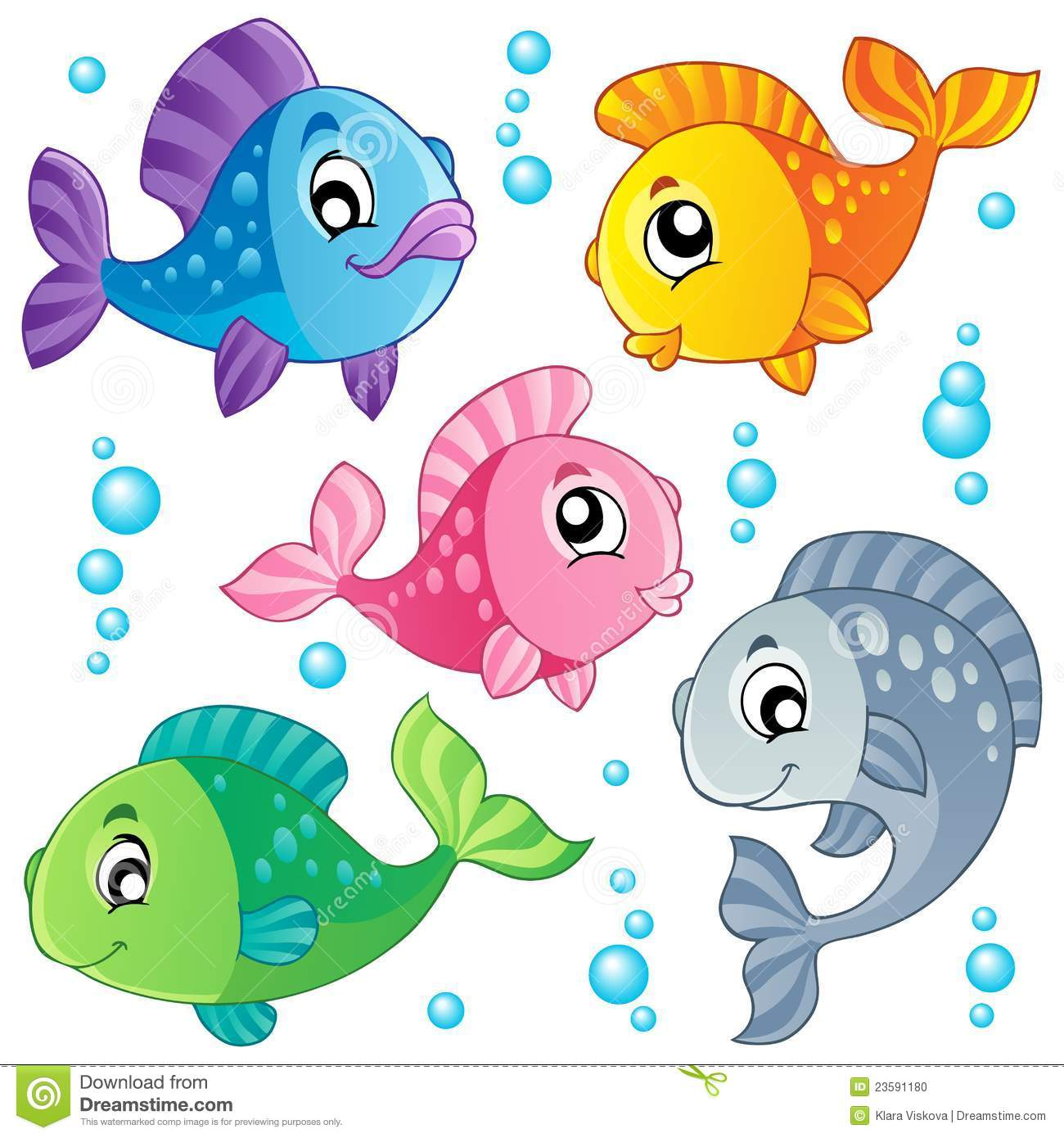 Cute fishes clipart.