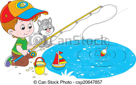 Clipart Vector of Little fisher.