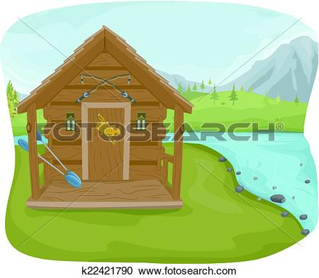 Clipart of Fishing Cabin k22421790.