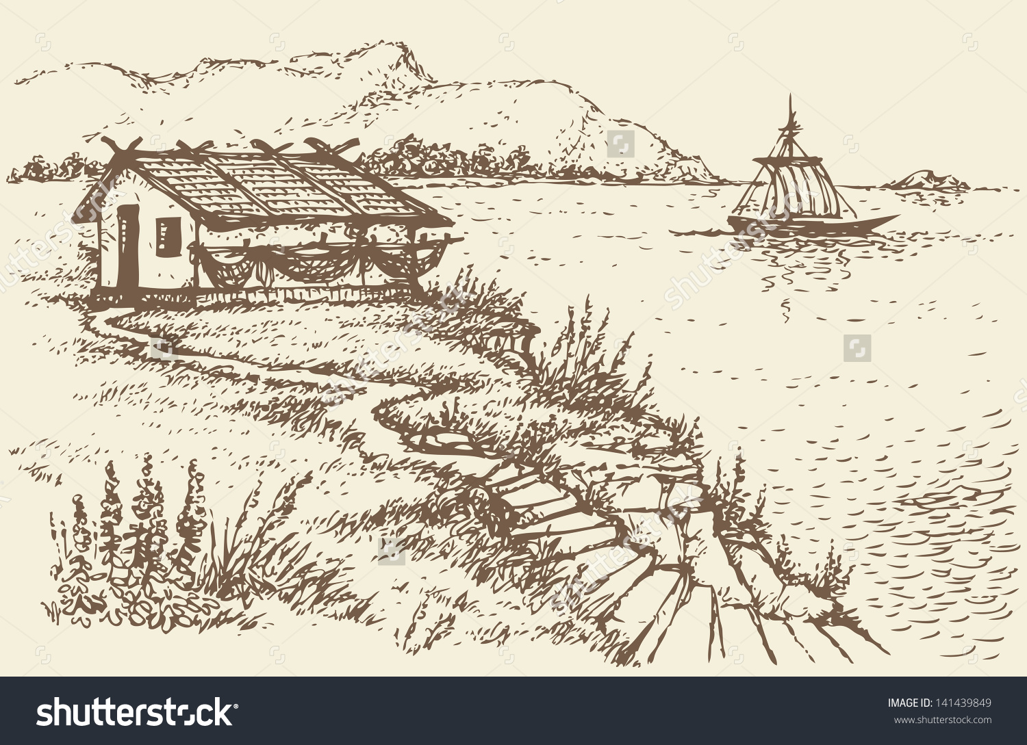 Vector Landscape. The Old Fisherman'S Hut On A Cliff Above The.