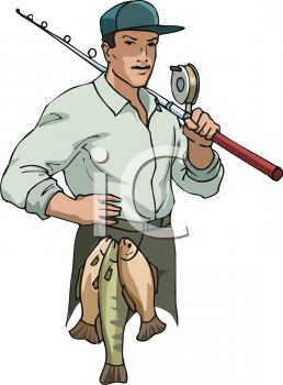Royalty Free Clip Art Image: Professional Fisherman.