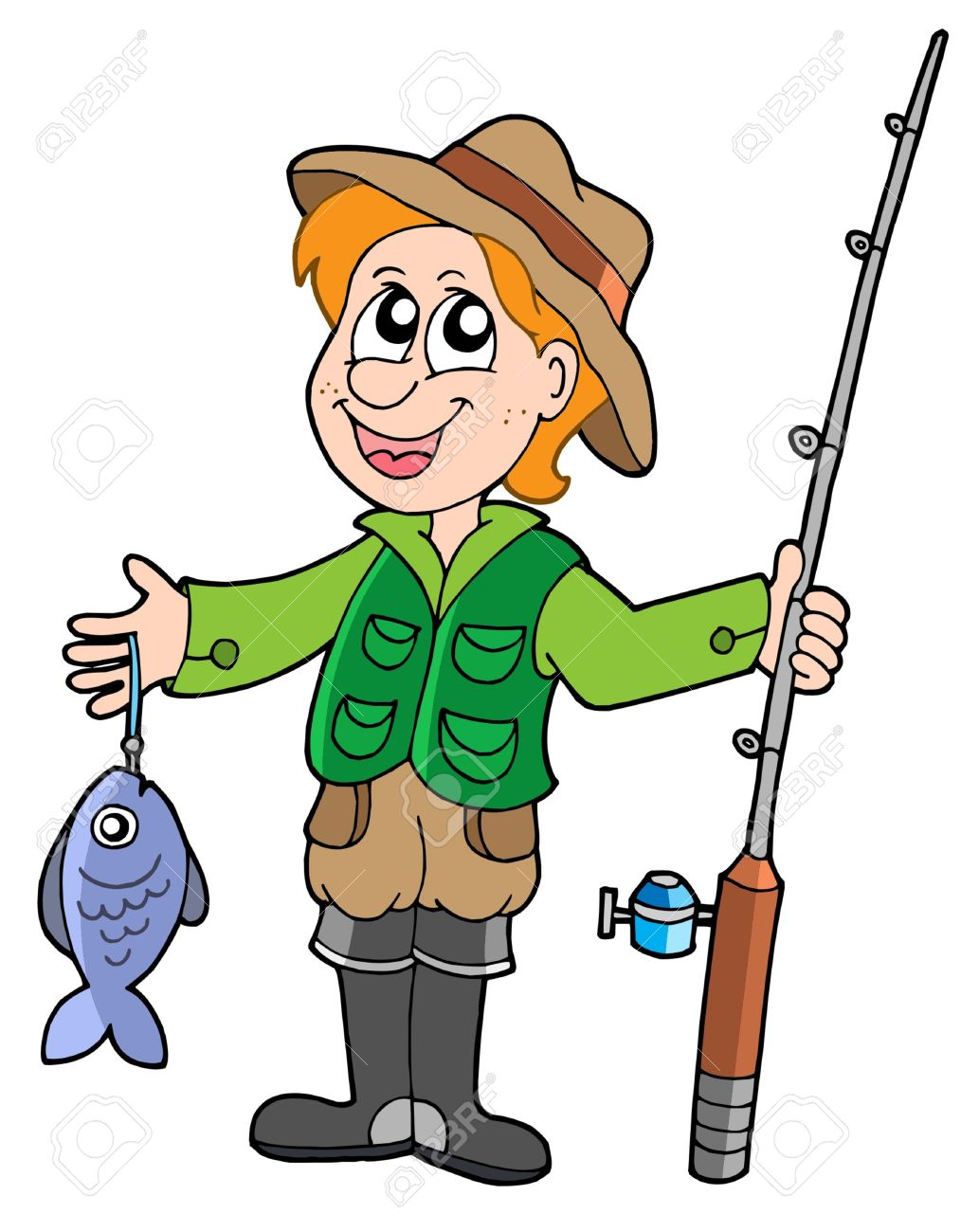 Fisherman Vector Clipart.
