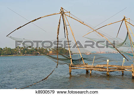 Stock Photograph of Chinese fisher net in Cochin, Kerala, India.