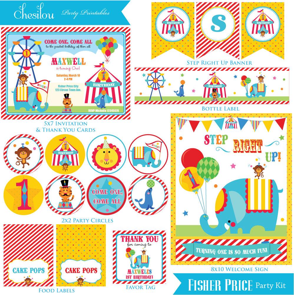 Customized Fisher Price Circus Printable Party Kit.