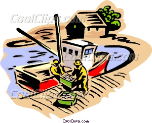 Fishermen unloading a day's catch Vector Clip art.