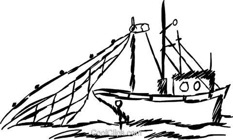 Commercial fishing boat Royalty Free Vector Clip Art illustration.
