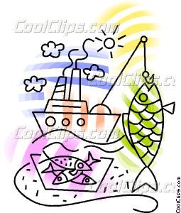 Commercial fishing boat Vector Clip art.
