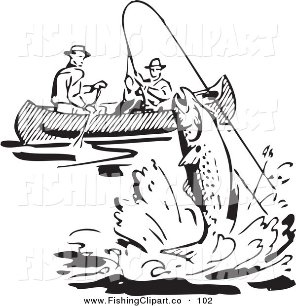 Fisherman in boat clipart black and white.